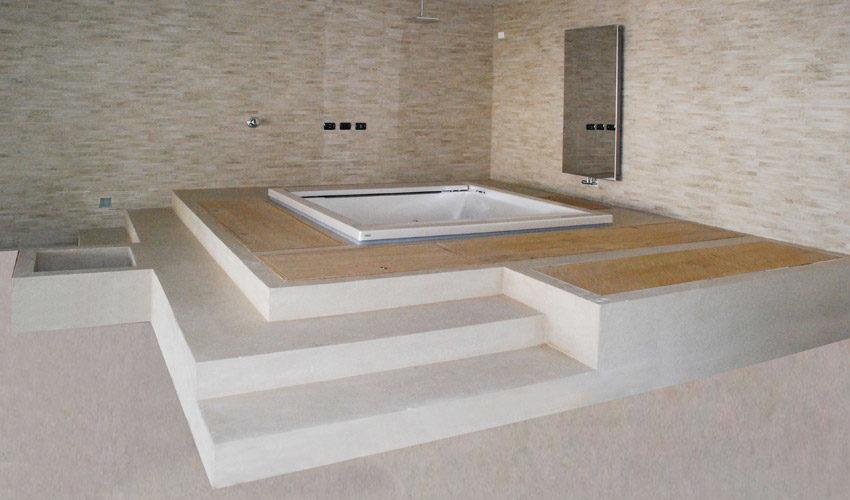 Pavimento e vasca in resina per villa privata a Pavia