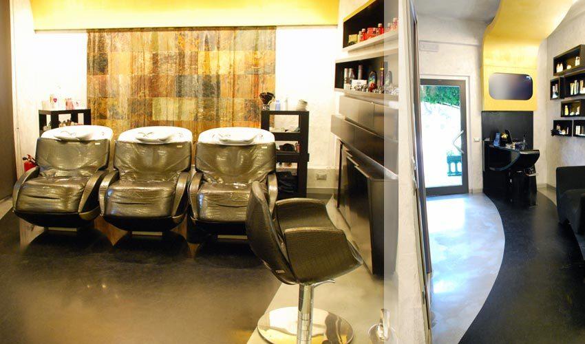 Pavimento e pareti in resina per parrucchiere a Milano