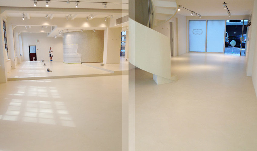 Pavimento in resina per showroom a Milano