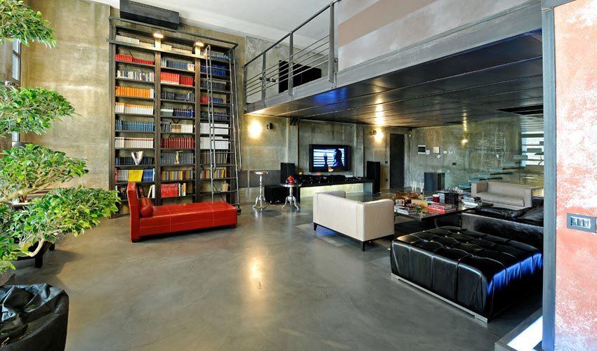 Pavimento e pareti in resina in villa privata a Milano