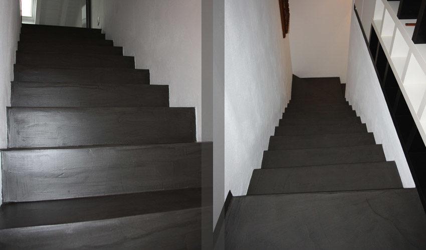 Pavimento scale pareti e tavoli in resina per casa a pavia fl