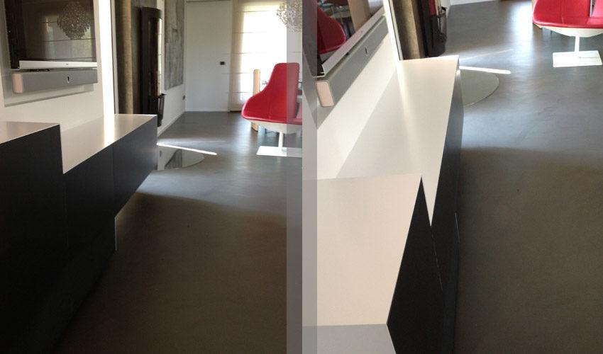 Pavimento in resina per salotto in casa privata a Parma