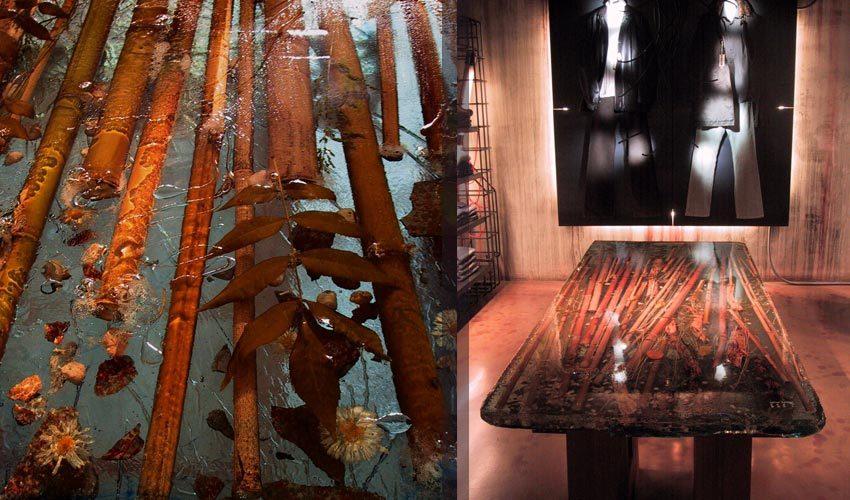 Tavolo in resina decorato