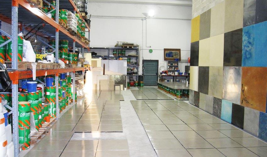 Sede e showroom di Pavia, dove visionare campioni ed esempi di pavimenti realizzati con resina di alta qualità Gobbetto.